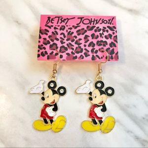 🎉 New Betsey Johnson Crystal Mickey Mouse Earrings